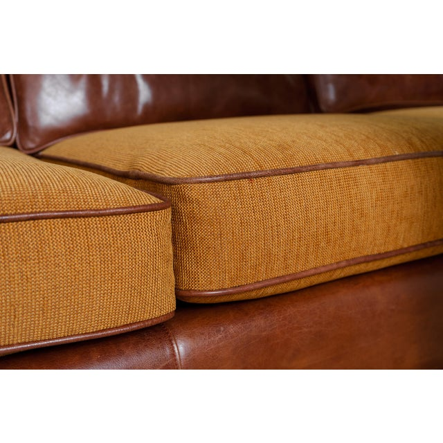 Animal Skin English Rolled Arm Sofa With Genuine Leather For Sale - Image 7 of 10