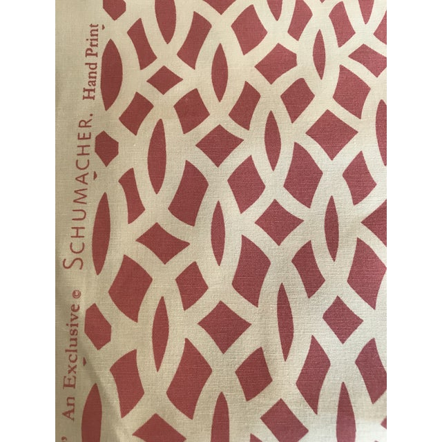 Chinoiserie Schumacher Chain Link Cerise Fabric - 3.5 Yards For Sale - Image 3 of 5