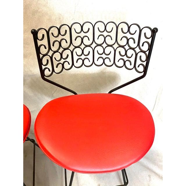 Arthur Umanoff Wow Arthur Umanoff for Grenada Collection Iron Swivel Counter Bar Stools W/ Original Red Cushions For Sale - Image 4 of 10