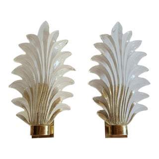 1970s Mid-Century Modern Murano Clear Glass & Brass Leaf Sconces - a Pair For Sale