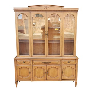 1950s Fruitwood Italian Provincial Dining Room China Cabinet For Sale