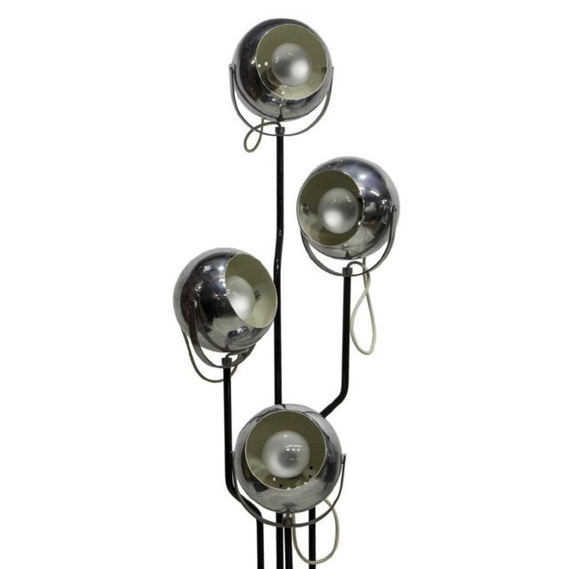 Four Light Italian Floor Lamp by Goffredo Reggiani. This superb Reggiani floor lamp with four chrome ball shaped...