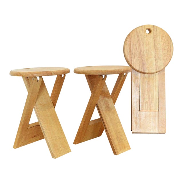 Pair of Foldable Stools by Roger Tallon, 1970 For Sale