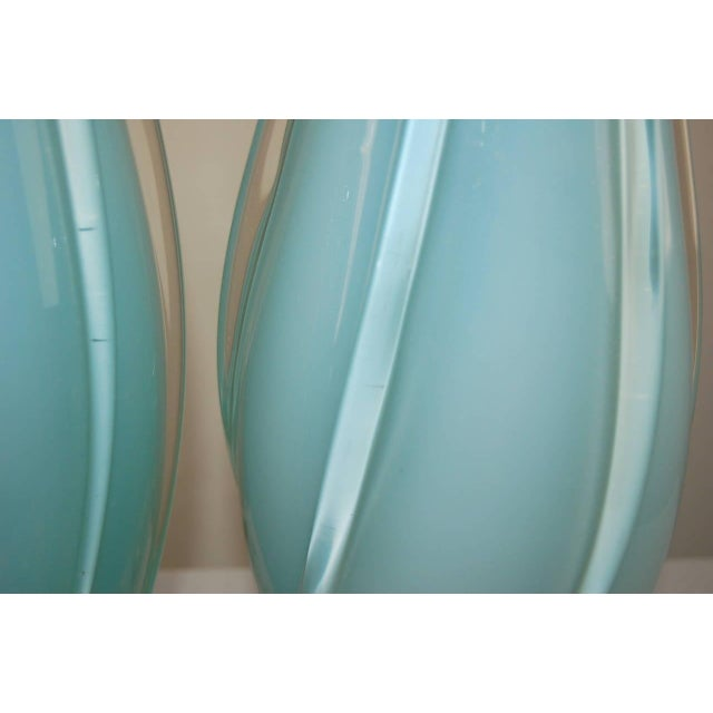 Vintage Murano Opaline Glass Table Lamps Blue For Sale In Little Rock - Image 6 of 9