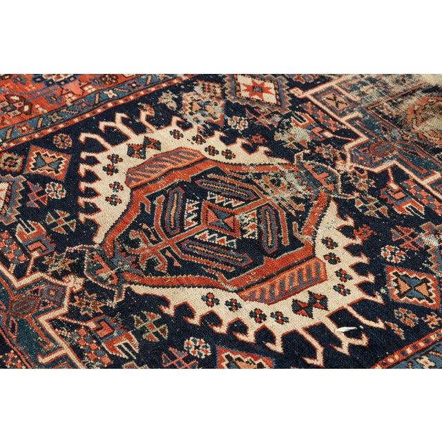 "Blue Antique Persian Heriz Rug, 4'6"" X 6'2"" For Sale - Image 8 of 9"