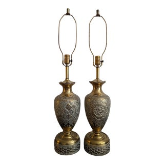 1960s Persian Brass Table Lamps - a Pair For Sale