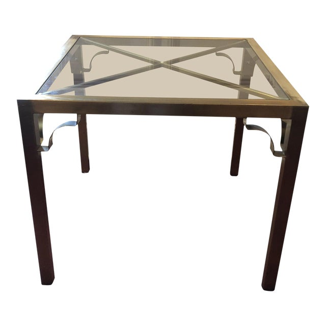 Hollywood Regency Brass & Glass Accent Table For Sale
