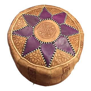Moroccan Leather Ottoman For Sale