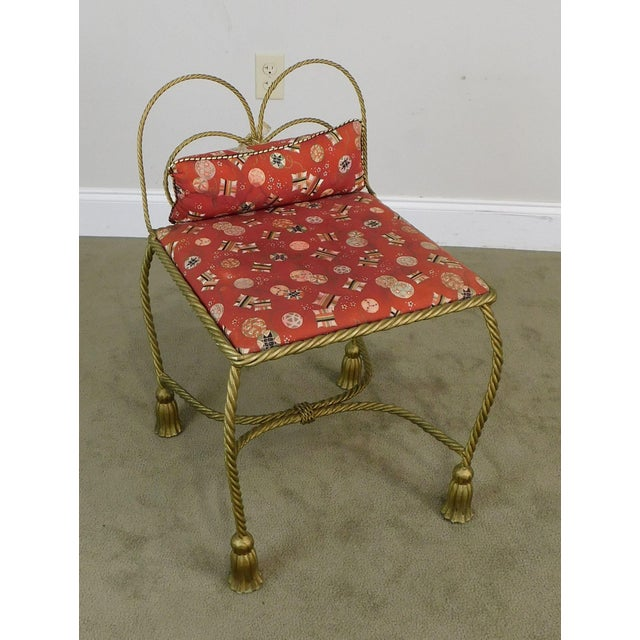 High Quality Vintage Gold Painted Metal Stool with Upholstered Seat