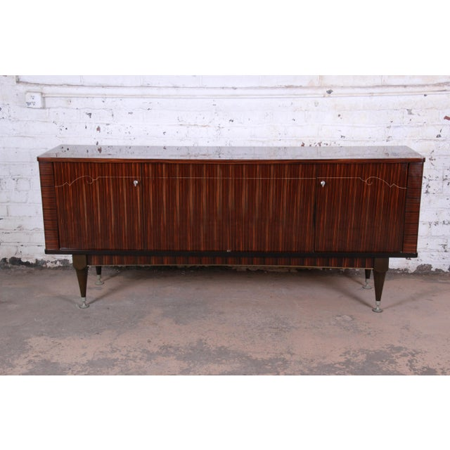 French Art Deco Macassar Ebony Credenza or Bar Cabinet by N.F. Ameublement, 1966 For Sale - Image 13 of 13
