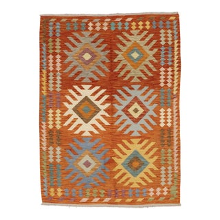 Contemporary Colorful Hand Woven Kilim Rug - 4′11″ × 6′7″ For Sale