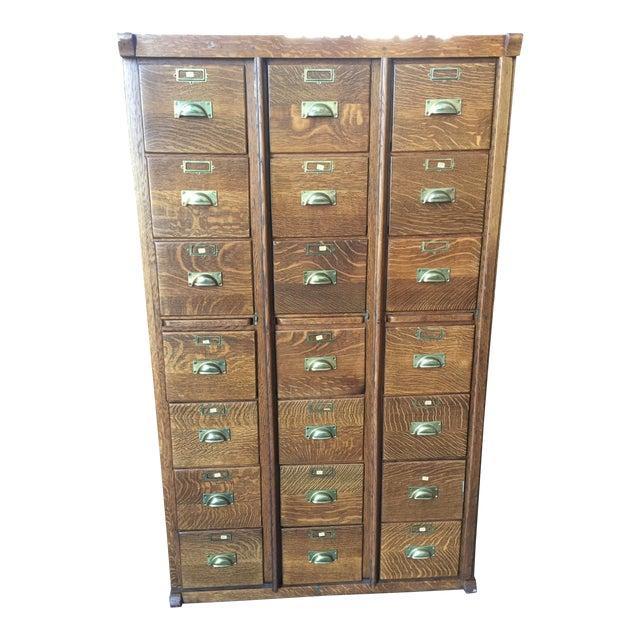 Antique Oak Letter File 21 Drawer For Sale