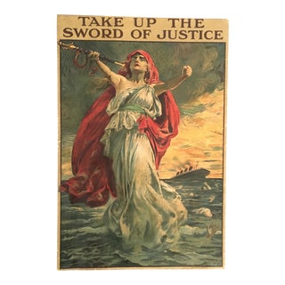 Early 20th Century Antique Take Up the Sword of Justice Original Poster For Sale