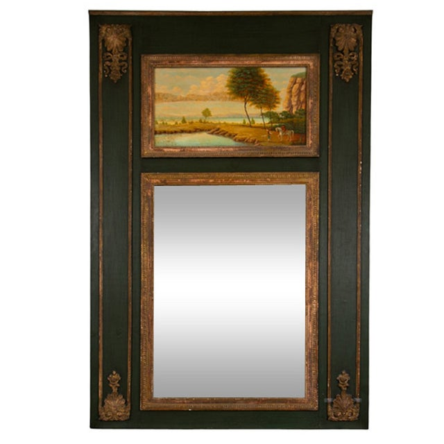 French Painted Trumeau Mirror - Image 1 of 8