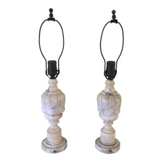 Vintage White Marble Lamps - a Pair For Sale