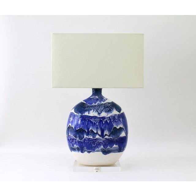 "Paul Schneider Ceramic ""Marfa"" Lamp in Drip Banded Blue Glaze For Sale In Dallas - Image 6 of 6"