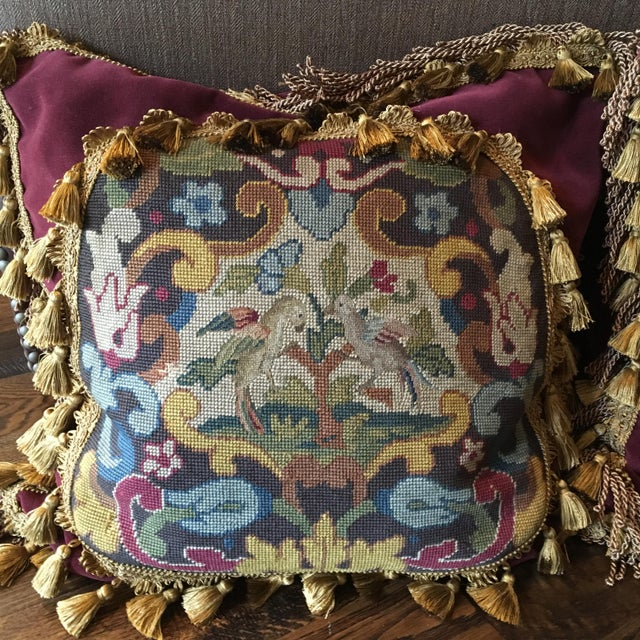 This unique pillow is a true work of art. It is of impeccable quality, craftsmanship and condition. I have 2 with slightly...