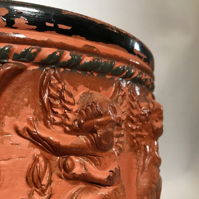 Terracotta Figural Relief Pot For Sale - Image 9 of 11