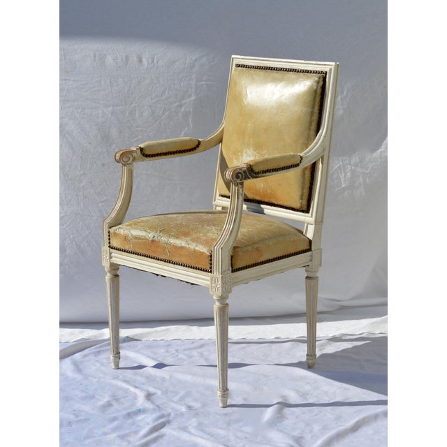 Painted French Louis XVI Desk Chair in Old Leather For Sale - Image 4 of 13
