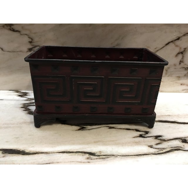 1980s Vintage Greek Key Motif Metal Jardiniere For Sale - Image 5 of 5