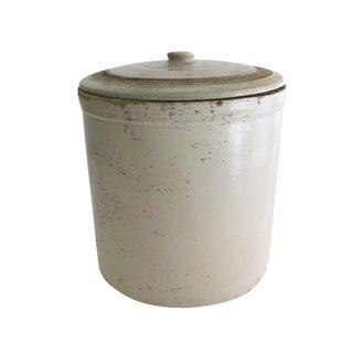 Antique Large White Stoneware Crock With Lid For Sale
