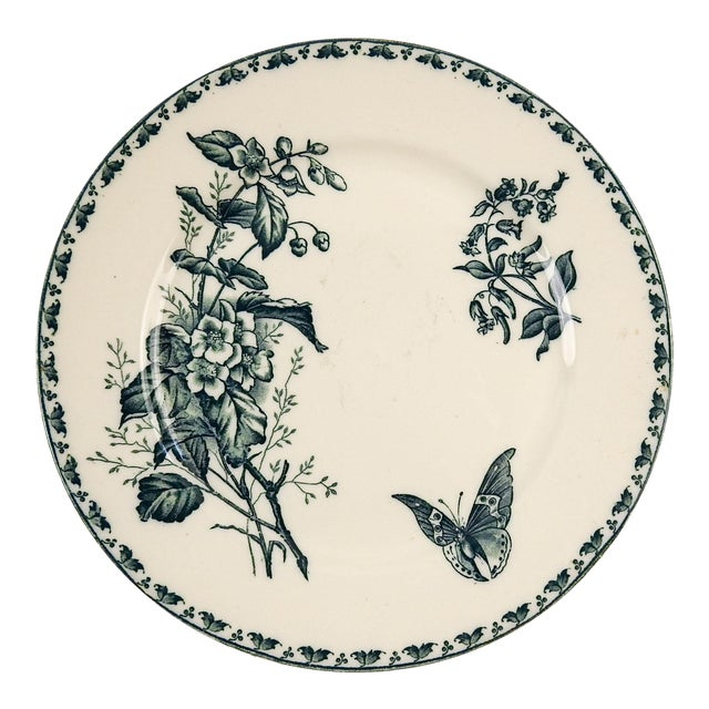 French Blue & White Transferware Plate Butterfly For Sale