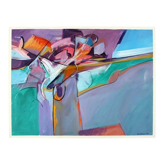 Contemporary Modern Unframed Abstract Acrylic Painting Signed Donhauser 1980s For Sale