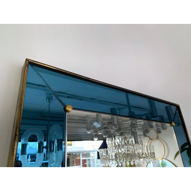 Metal Mirror Blue and Brass by Cristal Art. Italy, 1960s For Sale - Image 7 of 13