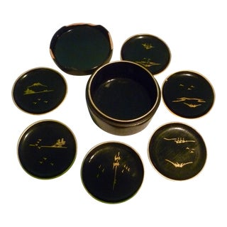 Vintage Mid-Century Japanese Lacquer Coasters Gold Inlay- Set of 6 Post Modern For Sale
