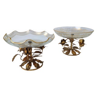 Gilt Italian Tole & Glass Center Bowls - a Pair For Sale