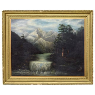 1940s Vintage Mountain Waterfall Gold Framed Oil Painting For Sale
