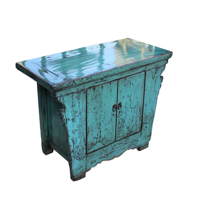Asian Chinese Rustic Rough Wood Distressed Aqua Blue Side Table Cabinet For Sale - Image 3 of 8