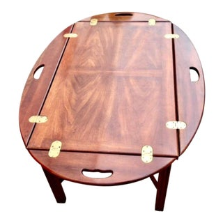 Nautical Walnut & Brass Captain's Serving Tray Table For Sale