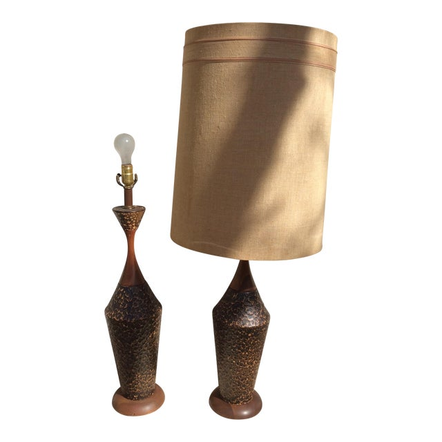 Mid-Century Textured Ceramic Table Lamps - A Pair - Image 1 of 7