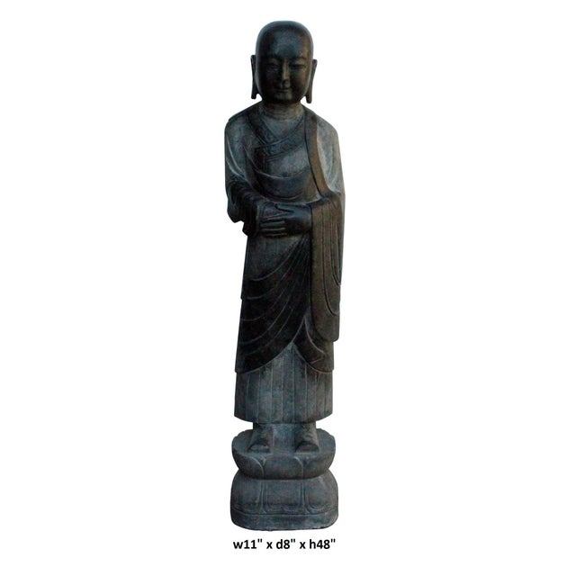 Chinese Black Gray Stone Carved Standing Monk Lohon Statue For Sale In San Francisco - Image 6 of 7