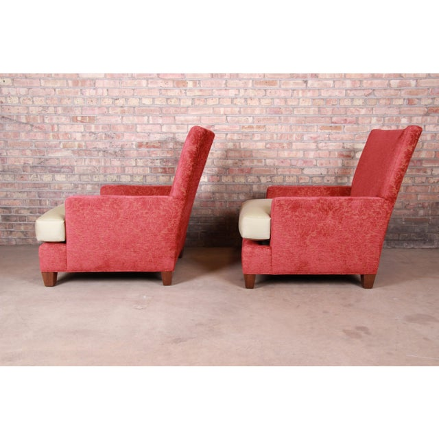 Wood Baker Furniture Contemporary Oversized Down-Filled Lounge Chairs and Ottoman For Sale - Image 7 of 13