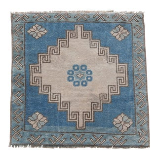 Distressed Low Pile Turkish Yastik Petite Rug Hand Knotted Faded Mat For Sale