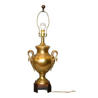 Frederick Cooper Hollywood Regency Heavy Brass Swan Details and Wood Table Lamp For Sale