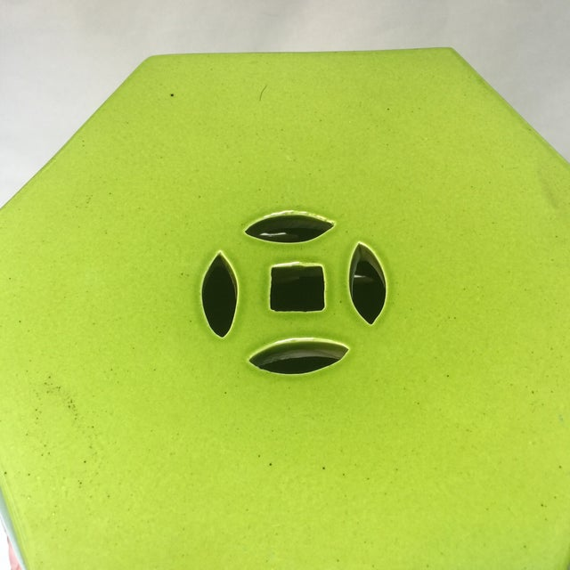 Asian Style Chartreuse Garden Stool For Sale - Image 5 of 10