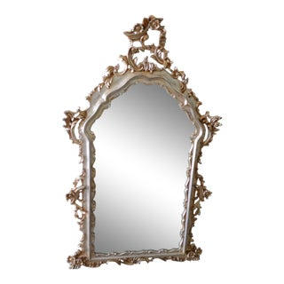 Italian Baroque-Style Painted Carved Gilt Wood Wall Mirror For Sale