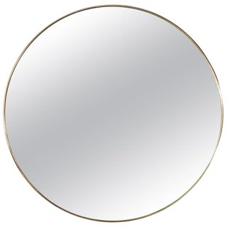 Italian Minimalist Round Brass Mirror For Sale