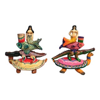 Vintage Mexican Pottery Folk Art Mermaid Candle Holders - a Pair For Sale