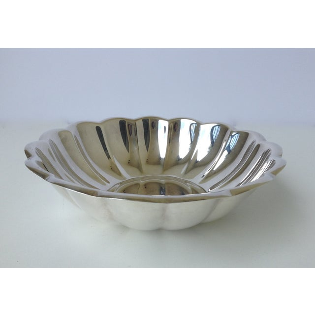 1970s Redd & Barton silver-plated, round side serving bowl with fluted design. Maker's mark engraved on underside. Also...