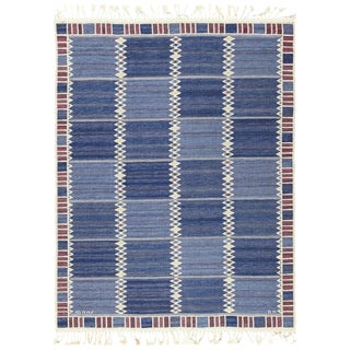 Vintage Scandinavian Marta Maas Salerno Blue Kilim Rug by Barbro Nilsson - 6′7″ × 8′7″ For Sale