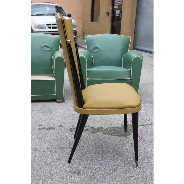 French Art Deco Ebonized Walnut Chairs - Set of 6 - Image 5 of 7