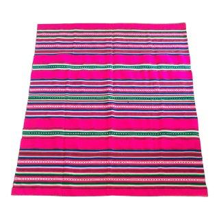 Vintage Bolivian Handwoven Blanket For Sale