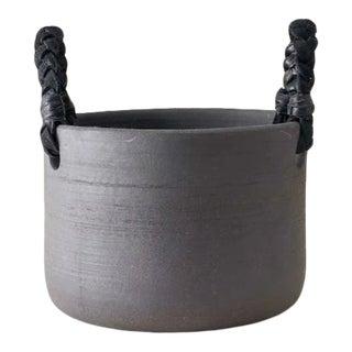 Contemporary Handmade Ceramic Dylan Basket Small - Raw Noir For Sale