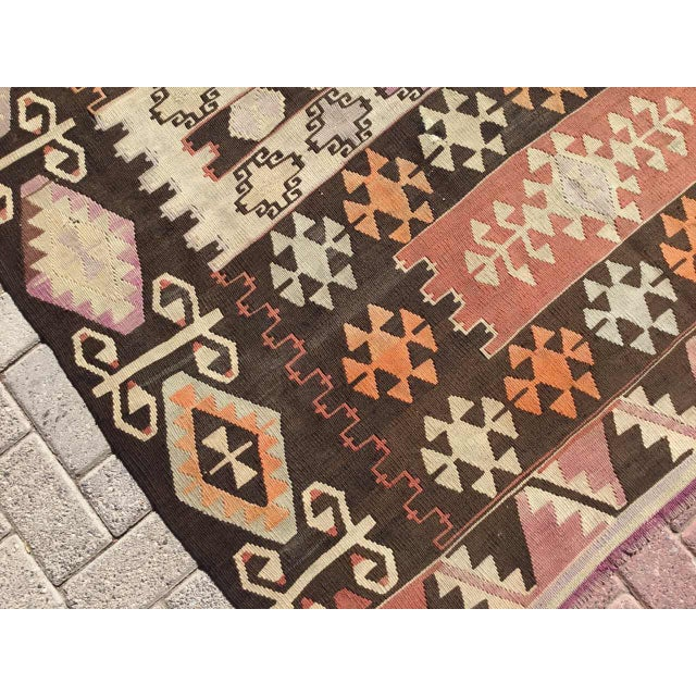 Vintage Turkish Kilim Rug - 5′1″ × 8′7″ For Sale - Image 5 of 8