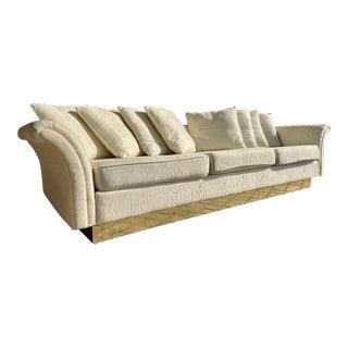 Hollywood Regency Modern Sofa on Plinth Brass Base For Sale