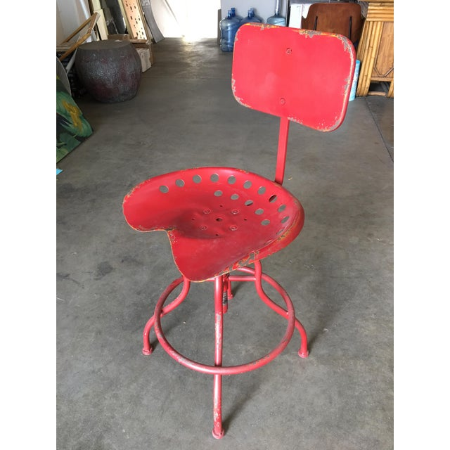 Metal Rustic Industrial Steel and Iron Tractor Work Stool For Sale - Image 7 of 8